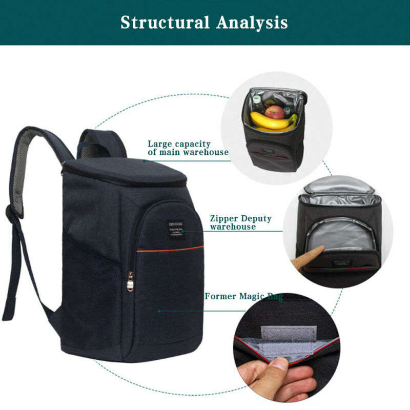New Fashion Portable Insulated Soft Cooler Bag Lunch Backpack Rucksack Leakproof Cooling