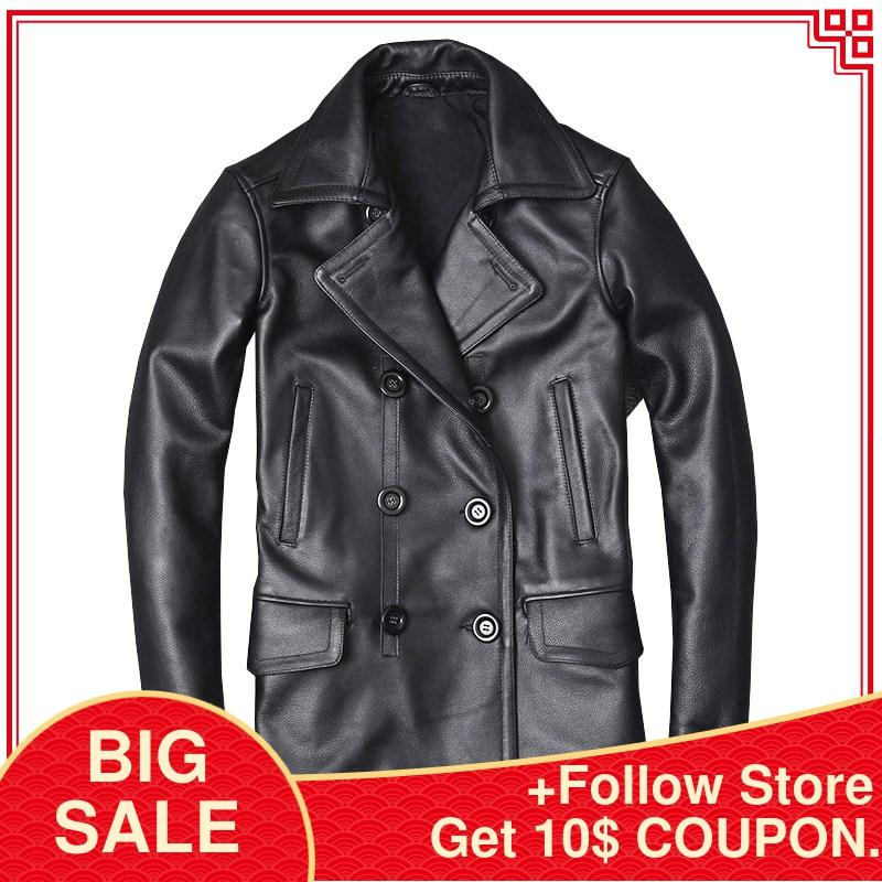 2020 Black Men Long Casual Leather Jacket Double Breasted Plus Size XXXXXL Genuine COwhide Russian Autumn Natural Leathe Coat