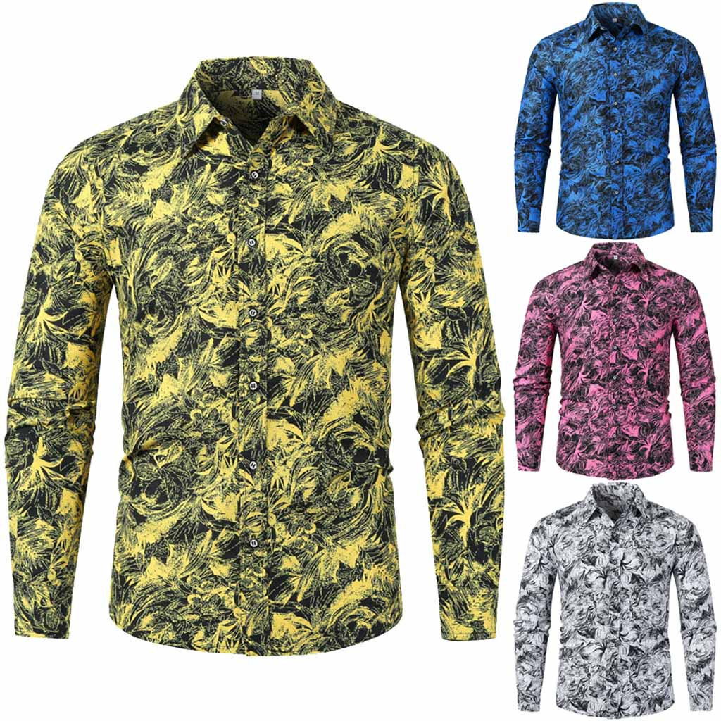 Vogue Sexy Men/'s Autumn Winter Casual Slim Printed Long Sleeve Shirts Tie Dyeing Top Beach Blouse Long Sleeve Loose Shirt