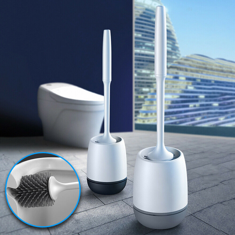 Silicone Toilet Brush and Holder Free Standing//Wall Hanging for Choice Bathroom Soft Hair Cleaning Kit Long Handle Bathroom Cleaning Brush