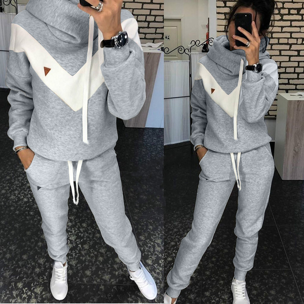 Sportswear Leisure-Suit Two-Piece-Set Fleece Winter American Fashion Women's European title=