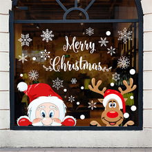Wall-Decals Window-Stickers Removable Dress-Up Snowflake Party-Glass Christmas PVC Santa
