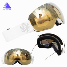 Snowboard Goggles Mask Skiing Eyewear Magnetic Mirrored Double-Spherical Women Adult