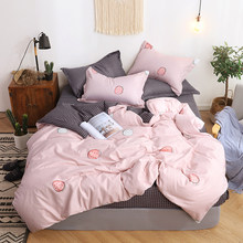2019 Pink Strawberry Printed Bedding Set Women Girl Bedclothes Twin Full Queen Bed Linen Duvet Cover Set Fitted Sheet Pillowcase(China)