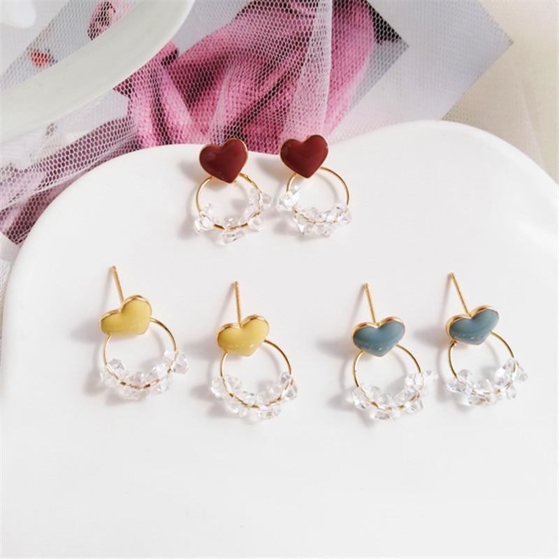 Fashion high quality glass earrings female Cute Romantic heart stud earrings Simple round metal crystal stud earrings for women