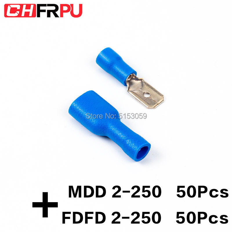 """Female Quick disconnects nylon fully insulated 0.5-1.5 mm² 22-16 AWG 1//4/"""" 6.35mm"""