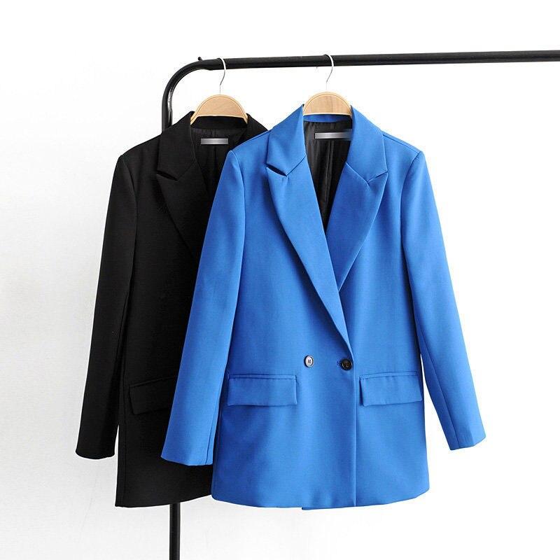 women elegant solid blazer notched collar long sleeve pockets blue black coat female office wear formal tops