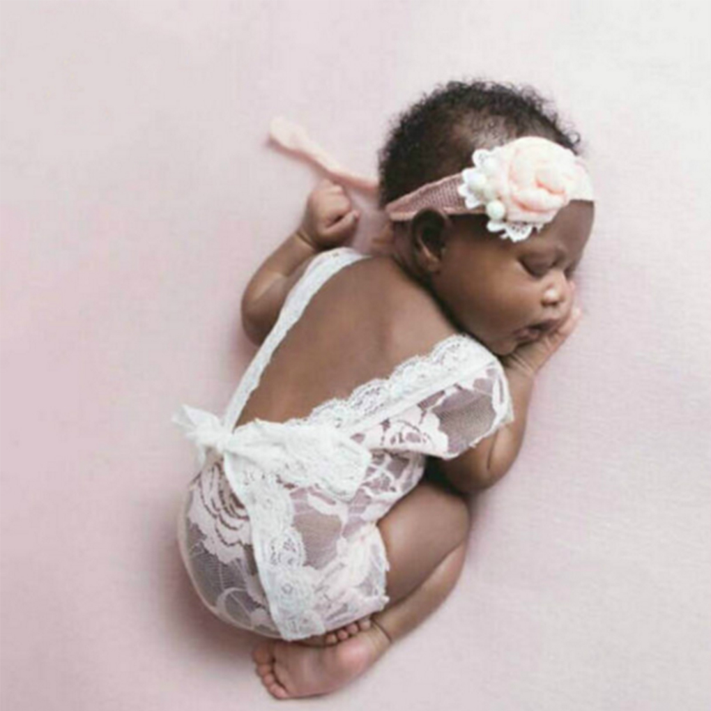 Newborn Baby Girl Photography Prop Lace Romper Jumpsuit Princess 0-3M