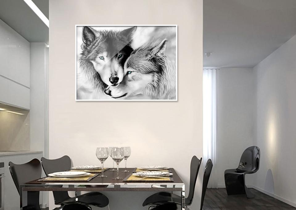 Y3013 Huacan Diamond Painting Animal Full Square Mosaic Crafts Kit 5D DIY Diamond Embroidery Cross Stitch Wolf Rhinestones Home Decor