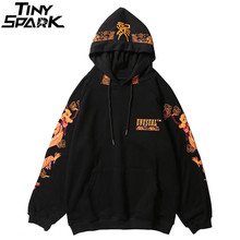 Hoodie Sweatshirt Pullover Streetwear Ancient Dragon-Print Hip-Hop Black Chinese Mens