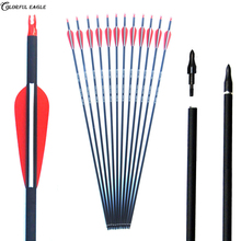 6/12/24pcs/lot 28/30/31 inches Spine 500 Carbon Arrow with Red and White Color for Recurve/Compound Bows Archery Hunting