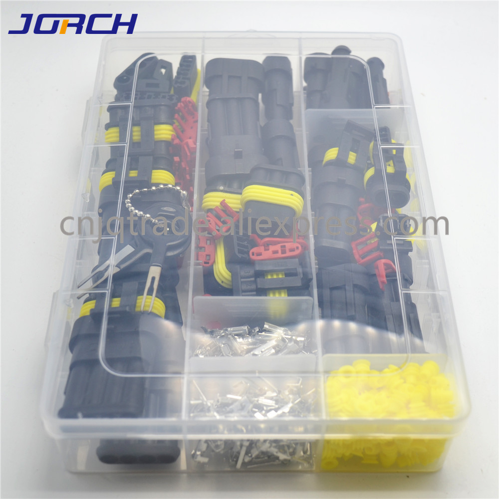 305 Pcs Superseal AMP Tyco Waterproof 12V Electrical Wire Connector Sets Kits with Crimp Terminal