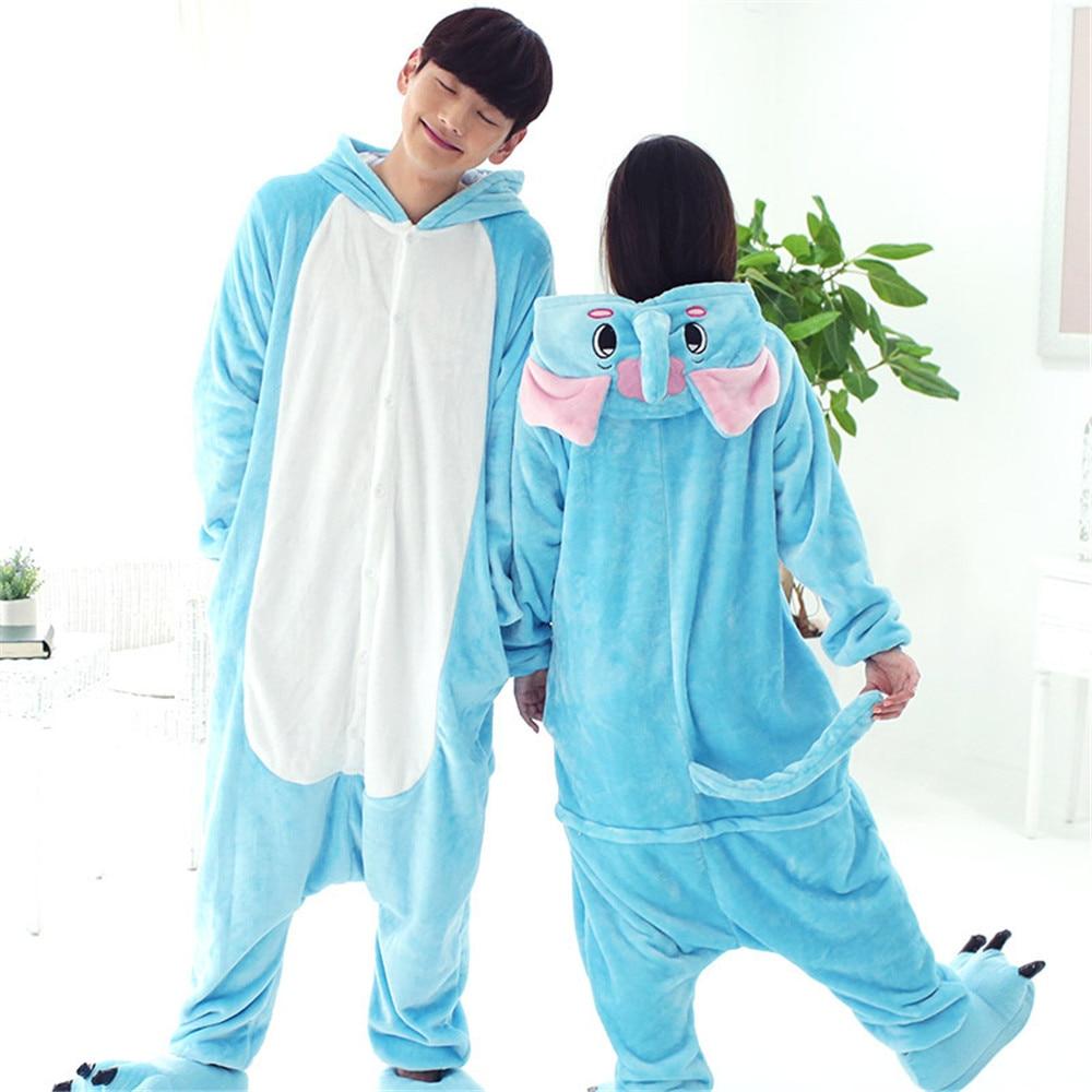 Unisex Adult  Elephant Pajamas Sets Blue Gray Flannel Pijama Winter Warm Animal Onesie Pyjamas For Women Men
