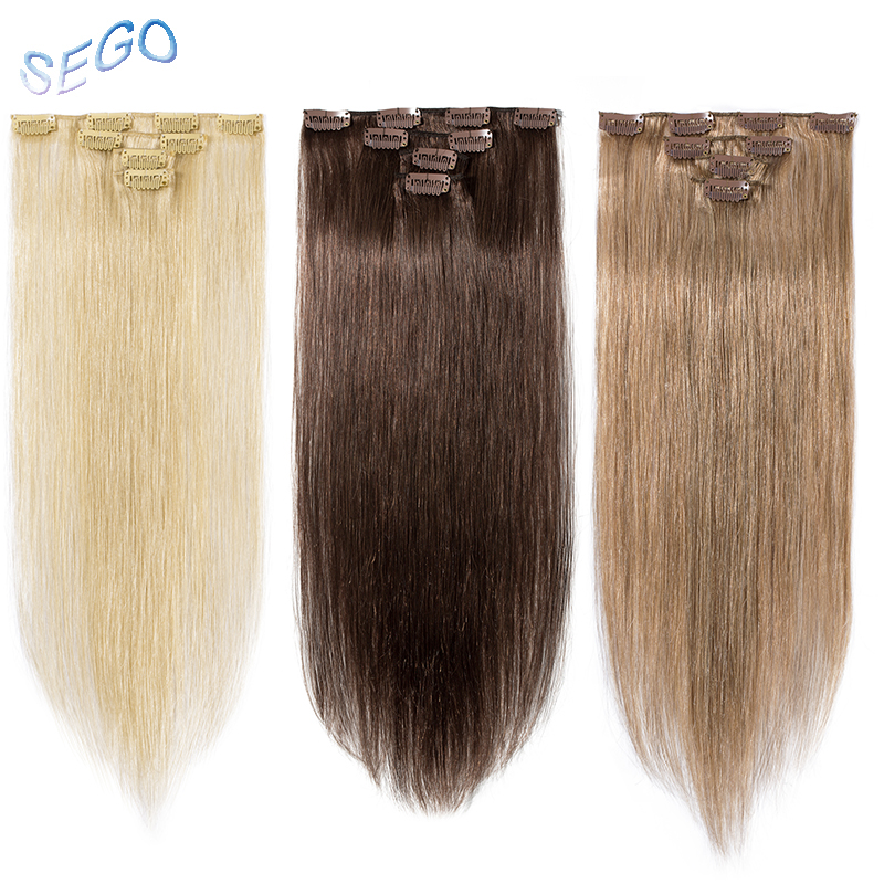 SEGO Human-Hair-Extensions Blonde Clip-In Double-Drawn Straight Real Non-Remy 613 4pcs/Set title=