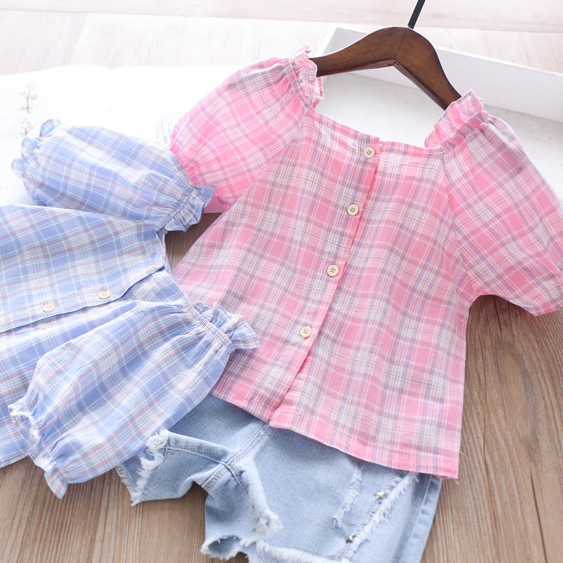 2020 Summer Girls Square Collar Short Sleeve Plaid Shirt Children/'s Clothing Wholesale