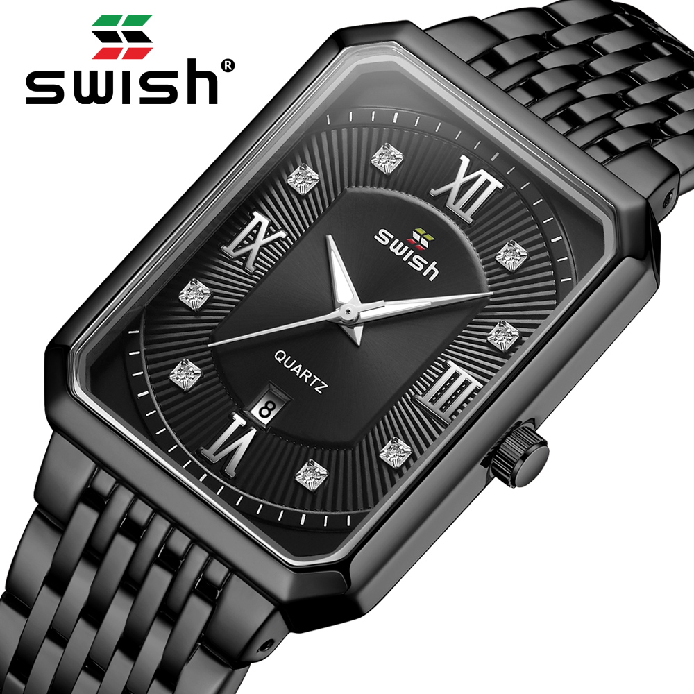 SWISH Luxury Men's Rectangle Watches Top Brand Black Business Wristwatch Waterproof Military Quartz Watch 2020 Relogio Masculino