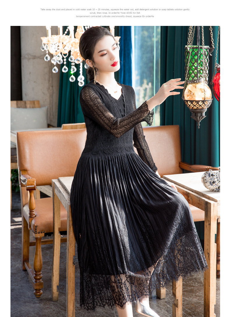 HOT SELLING Miyake solid three quarter v-neck  fold Mesh Lace Pleated dress IN STOCK
