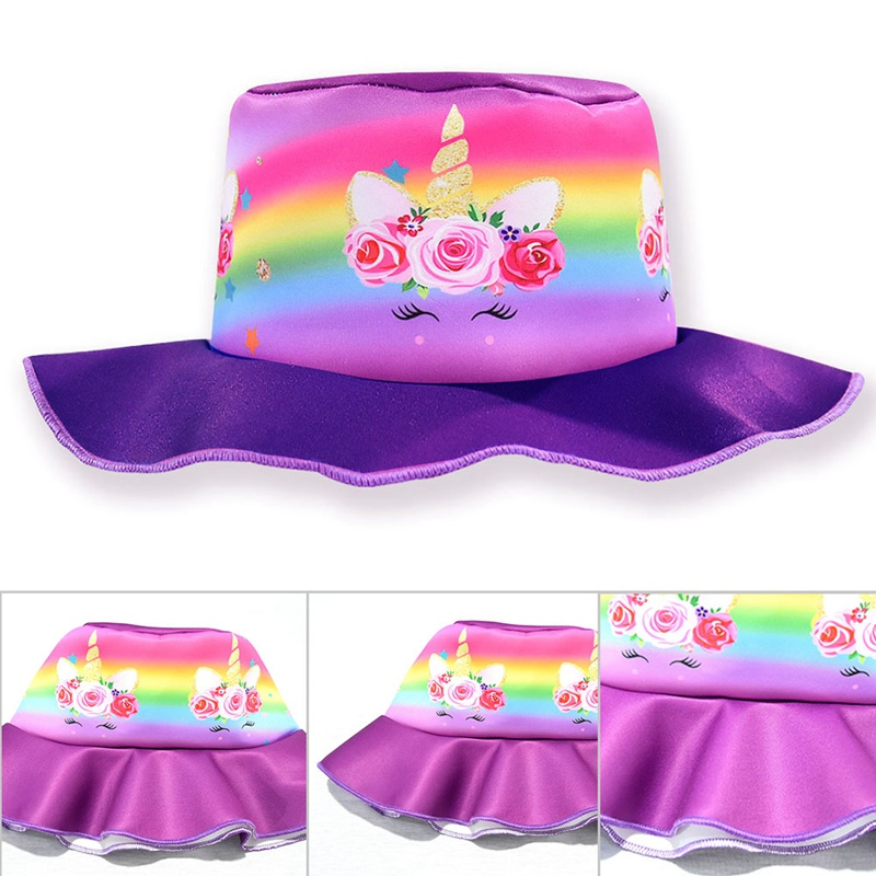 Kids Sunhats Unicorn Colorful Children Beach Cap Bucket Hat Sun Visor Caps Fisherman Hats