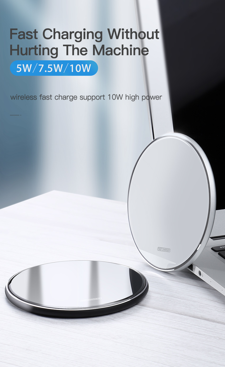KUULAA Wireless Charger 10W Qi for Samsung S9 S10+ Note 9 8 Mirror Wireless Charging Pad 7.5W for iPhone X/XS Max XR 8 Plu 1