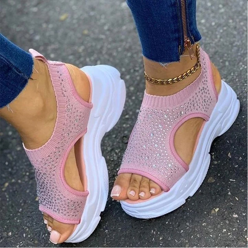 Summer Woman Sandals Women Crystal Wedges Ladies Platform Comfort Women