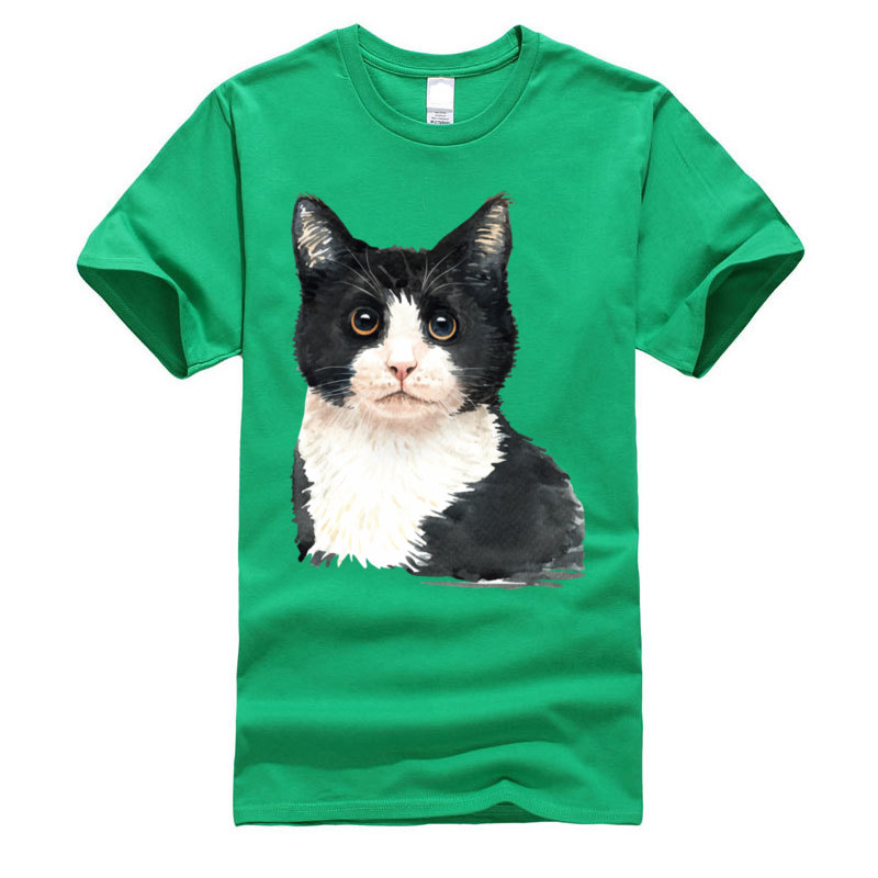 Cat_watercolor Dominant Cool Tops Shirts Crewneck Summer Cotton Fabric Short Sleeve T Shirt for Men Europe T-Shirt Cat_watercolor green