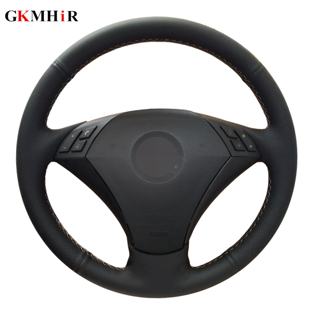 Custom Hand-Stitch Top Leather Car Steering Wheel Cover For BMW E60 530d 545i