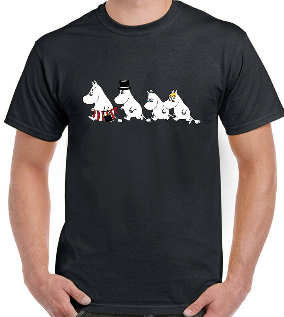 Mens Moomin T-Shirt Moomintroll Family T shirt Unisex Top New Cool Streetwear Camisetas Cotton Short Sleeve Tshirt men