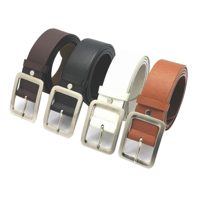 Clothes Accessories Belt Faux Leather Buckle Men Belt 108cm Long Alloy Square Elastic Waist Strap Belts For Jeans Birthday Gift