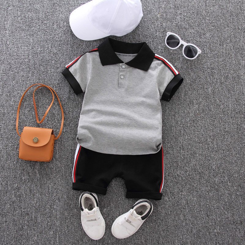Baby Boy Clothes Sets 2021 Summer Casual Cotton Kid Turn-down Top + Black Shorts Toddler Short Sleeve Golf Sports Outfits
