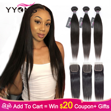 Yyong Straight Hair Bundles Closure Human-Hair-Extensions Weave Double-Weft Remy Peruvian