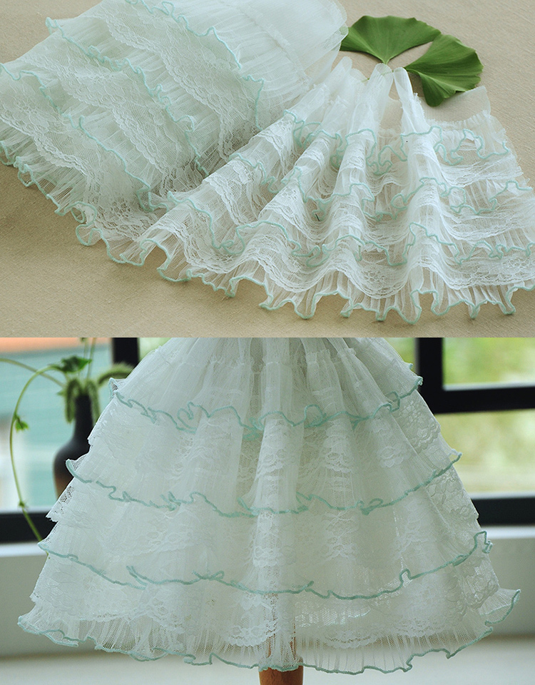 10 M Embroidered Lace Trim Double-layer Gauze Ribbon Toy Doll Skirt DIY Decor