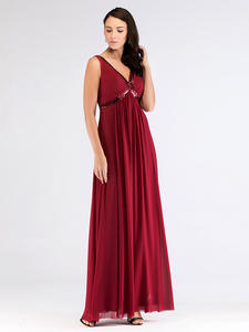 Evening-Dresses Sequined Ever Pretty Burgundy Vintage Cheap Abendkleid Lang A-Line V-Neck