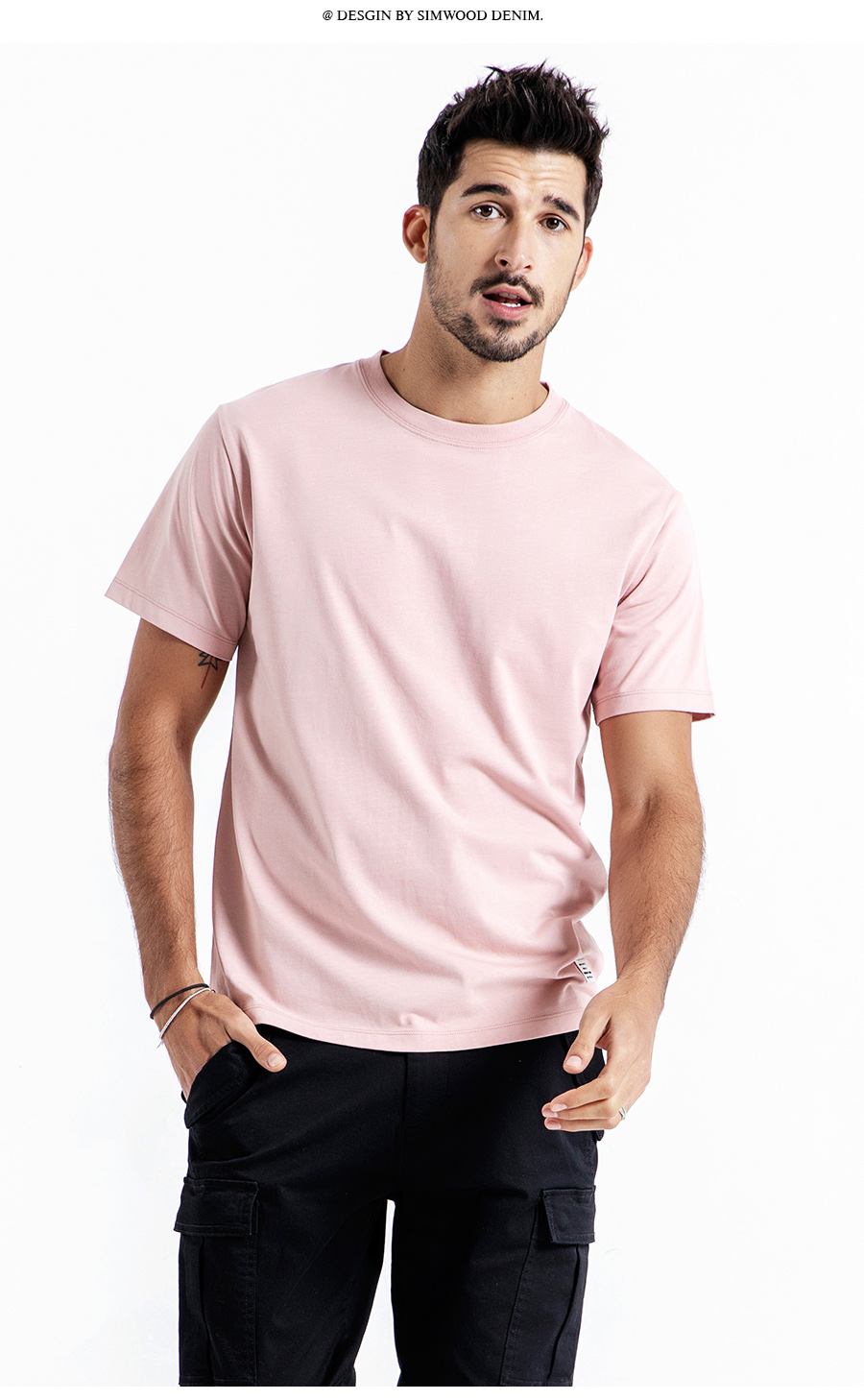 SIMWOOD 19 Summer New T-Shirt Men 100% Cotton Solid Color Casual t shirt Basics O-neck High Quality Plus Size Male Tee 190004 16