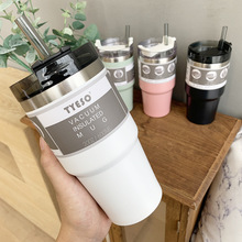 Lid-Straw Coffee-Mug Car-Water-Bottle Travel 304-Stainless-Steel Gift Creative with