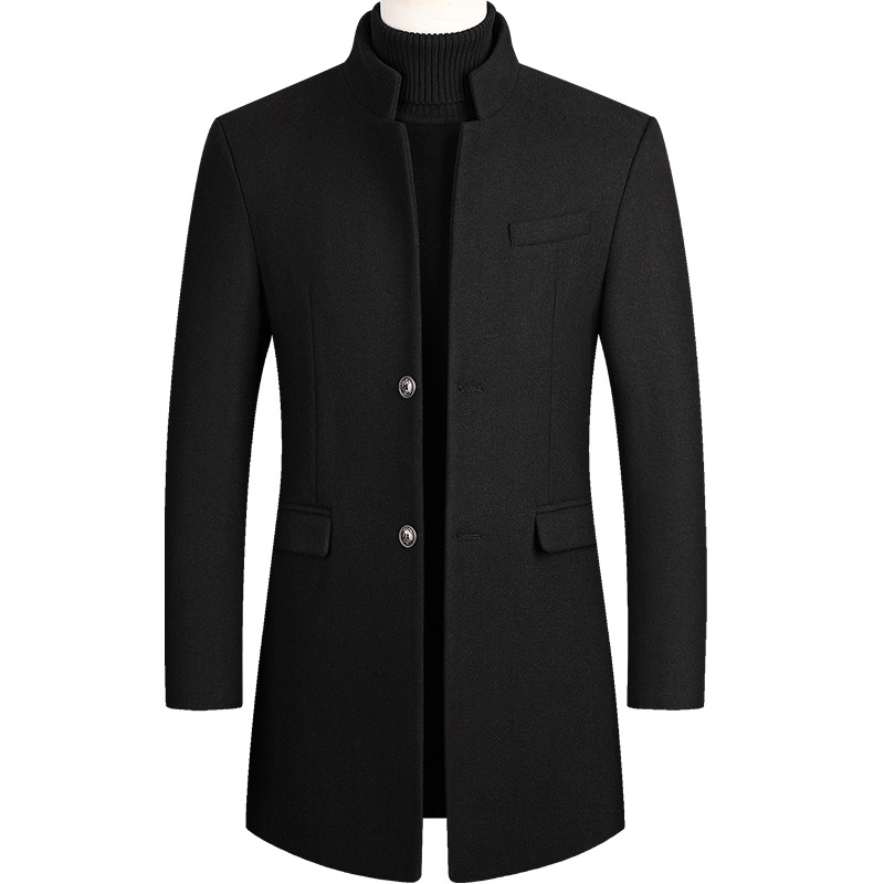 Windbreaker Jacket Coat Male Mens Overcoat Woolen-Blend Plus-Size Long Winter Warm Thick title=