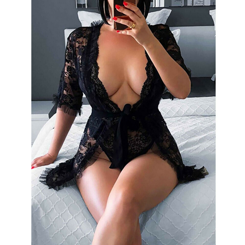 Robe Sleepwear Lingerie Dress Nightgown Lace Floral-Babydolls Black Sexy See-Through title=