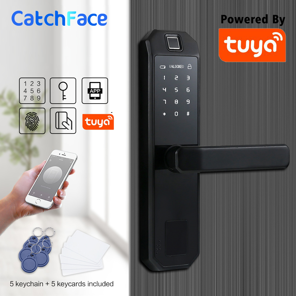 WIFI Smart Fingerprint Door Lock Code Card Key Touch Screen Digital Password Lock Electronic Door Lock with Tuya Smart APP title=