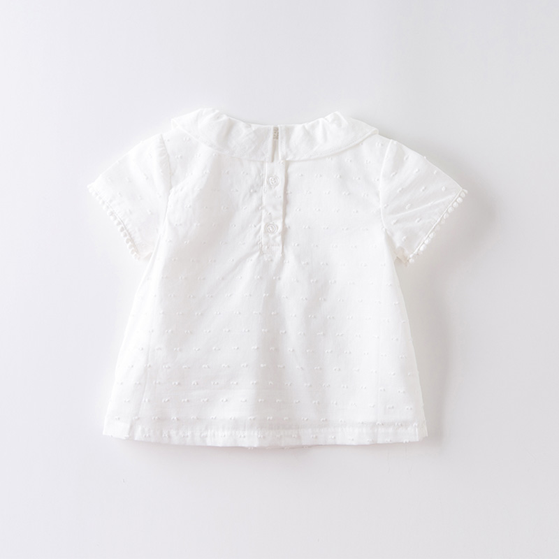 DBJ13902 dave bella summer baby girls cute embroidery shirts infant toddler tops children high quality clothes