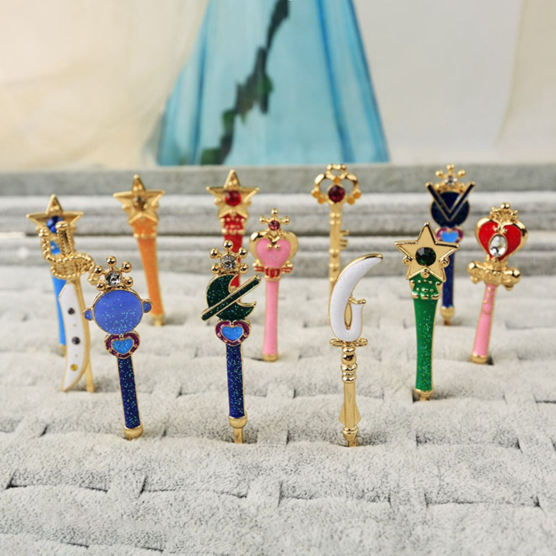 Hair-Pin-Accessories Captor Head-Wings Birds Anime Sailor Star Metal Moon-Card title=