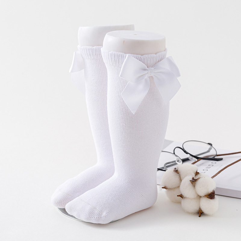 Newborn baby girls socks New Kids Socks Toddlers Girls Big Bow Knee High Long Soft Cotton Lace baby Socks Children Socks