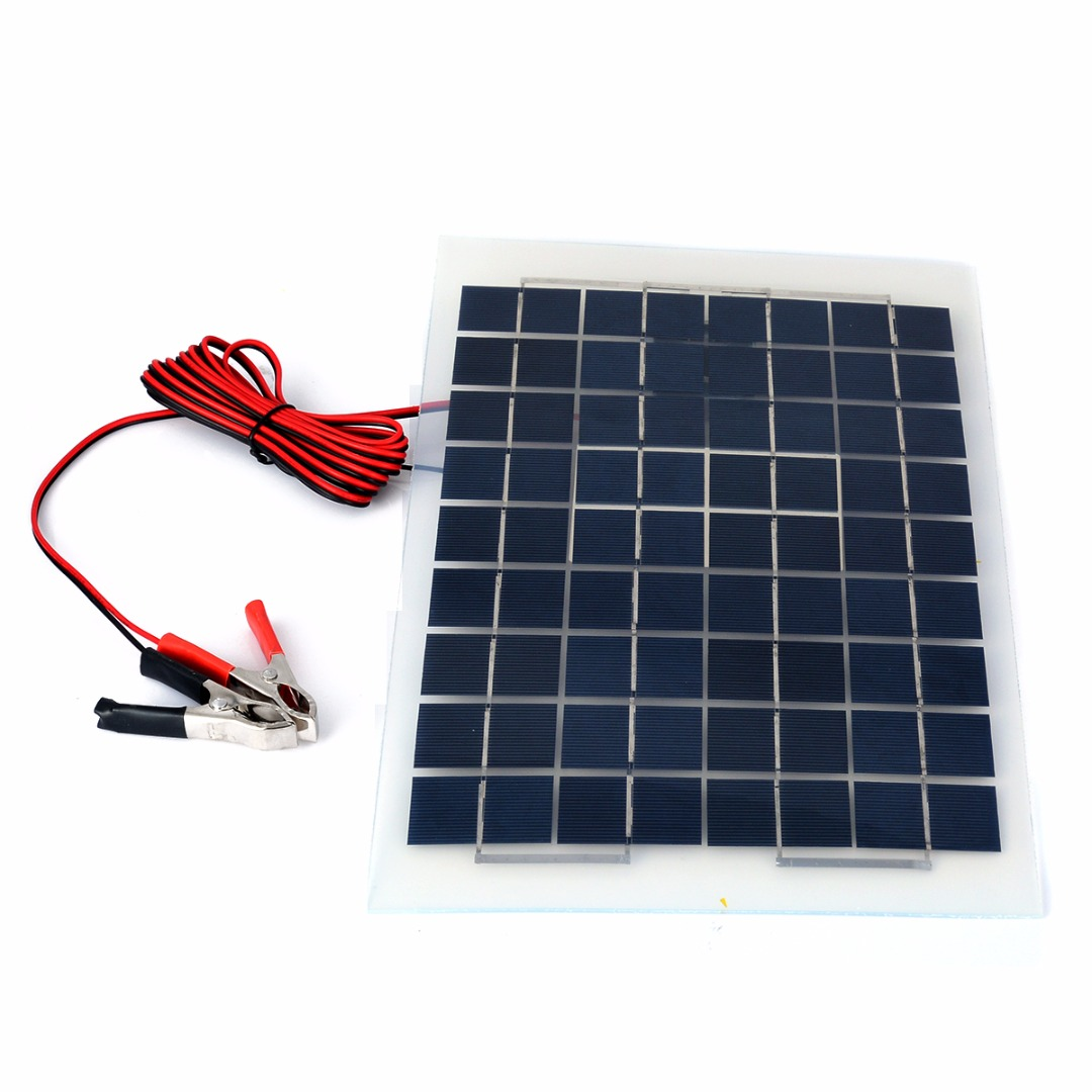 1pc 10W 12v Polycrystalline Energy Solar Panel Battery Module+ Alligator Clips With 4m Cable For Electric Fans Lights Mayitr