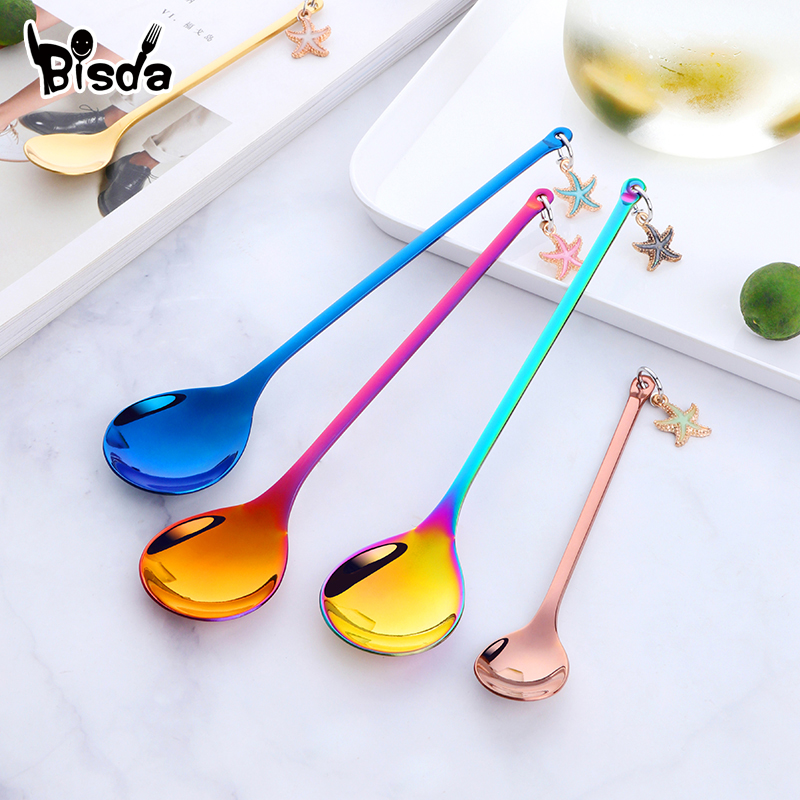 1Pc Coffee Spoons Stainless Steel Spoon for Dessert Cake Fruit Creative Dinner-Spoon Gold Long Soup Scoop Small Tea Spoons Party