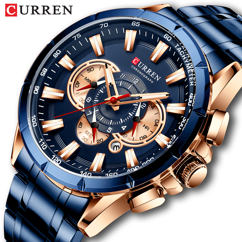 Curren Men's Watch Top Luxury Brand Big Dial Blue Quartz Men Watches Chronograph Sport Wristwatch Man Stainless Steel Date Clock title=