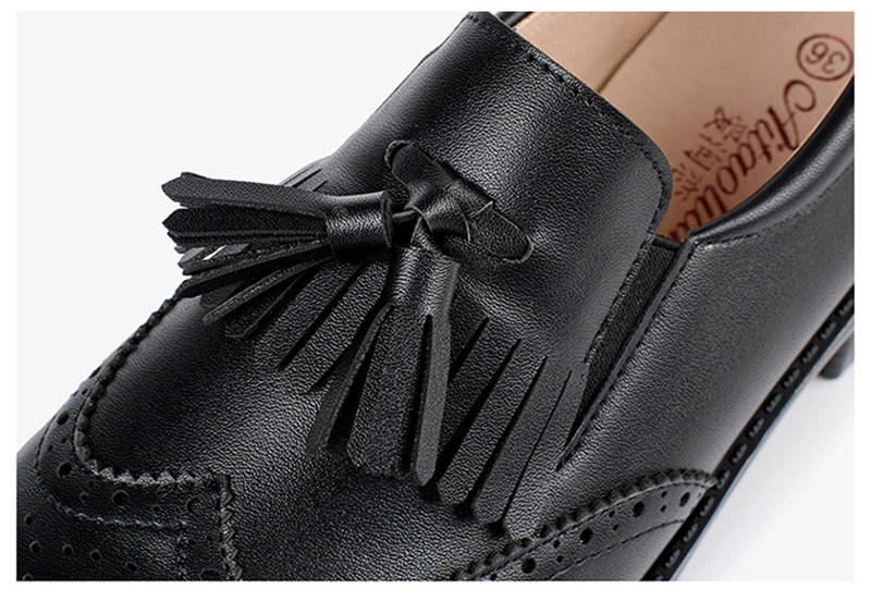 New British Carved Oxford Shoes For Woman Korean College Slip On Student Flats Brogues Shoes Retro Tassel Casual Women's Loafers (15)