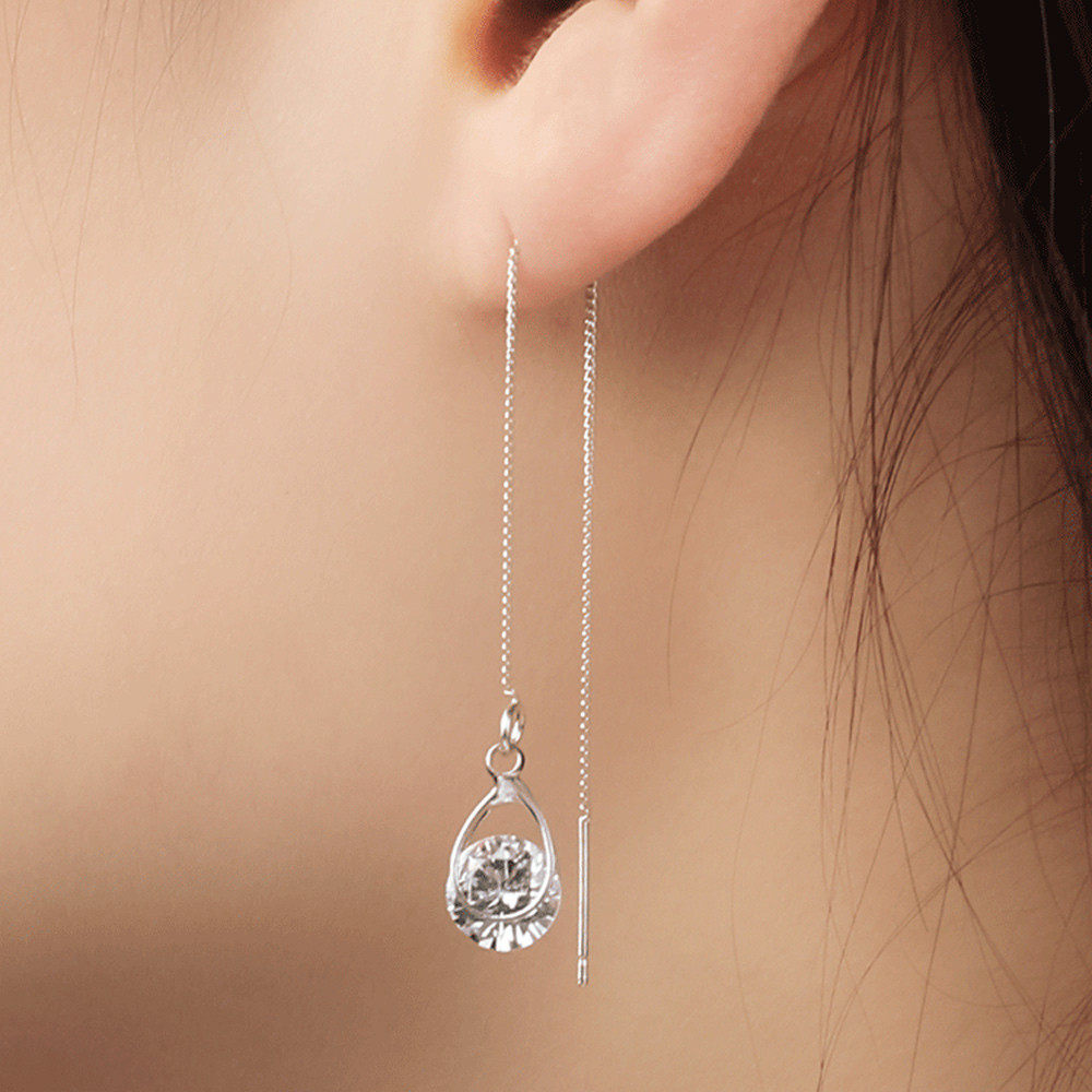 Elegant ladies water drops asymmetric ear line popular wild fashion earrings business work daily jewelry banquet holiday gift