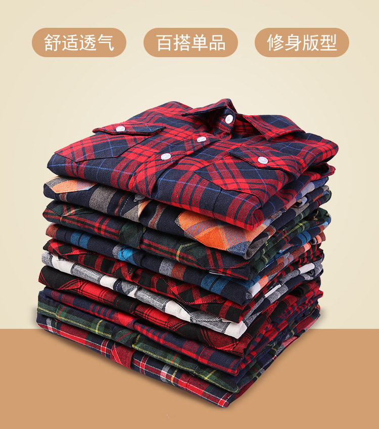 2020 Spring Autumn New Style Hot Sale Korean Fashion Popular Ladies Cotton Plaid Shirt Casual All-match Self-cultivation Comfort