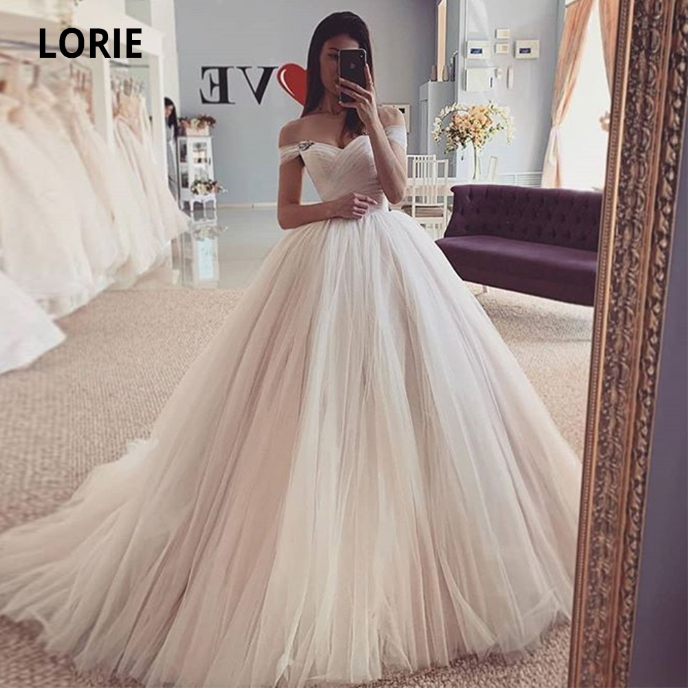 LORIE Off the Shoulder Tulle Wedding Dresses 2020 Charming Open Back Lacing Princess Bridal Gowns Plus Size A-line Party Dresses