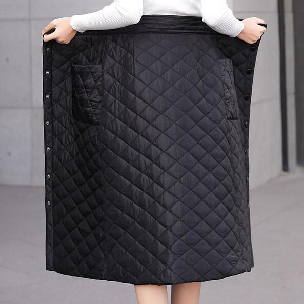 Women Winter Down Cotton Skirt Plus Size Long Skirts Thicken Warm Single Breasted High Waist Pocket Unfolded Skirt DC12