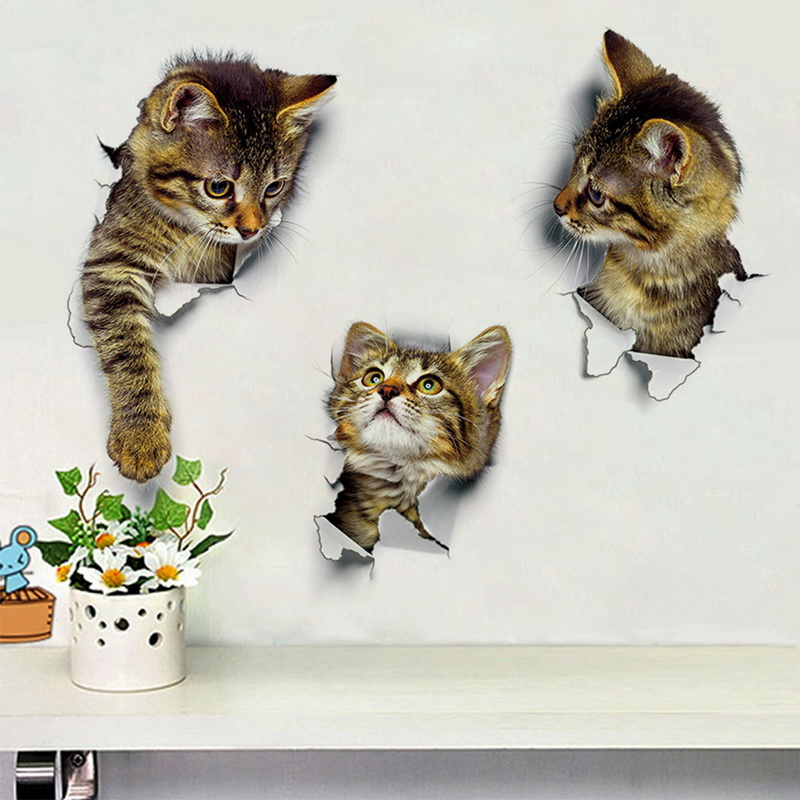 Cute Cat 3D Wall Sticker Bathroom Toilet Kids Room Decor PVC Wall Stickers Dog Refrigerator Waterproof Poster Home Decor