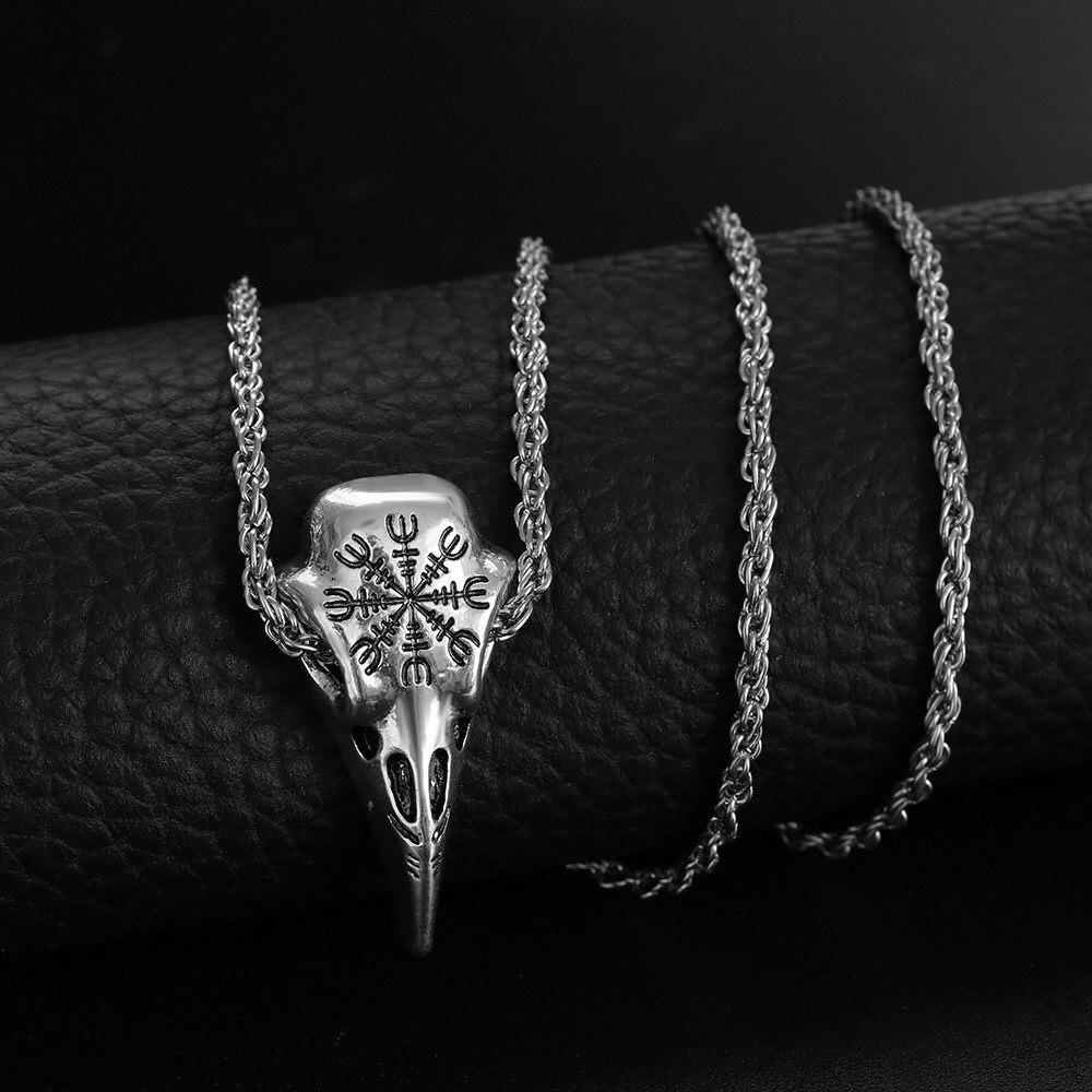 Viking Rune Raven Pendant Necklace Stainless Steel Crow Skull Pendant Amulet Men